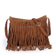 Fringe tassel coffe color vintage leather lady crossbody shoulder messenger bag