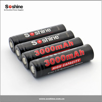 Soshine 3.7V 18650 3000mah li-ion battery with protection