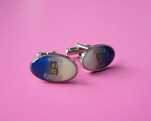 custom oval printing epoxy custom cuff links/cufflinks