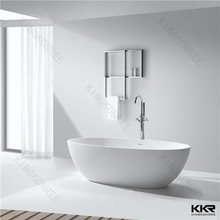 Artifcial acrylic solid surface stone bath, white and black gel coat stone bathtub