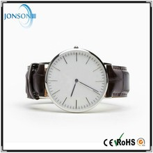 Europe New Fashion 6mm Case Leather or Nylon Strap Super Thin Style Genuine Leather Wrist Watch