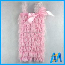 Kids Clothing Wholesale 2015 Summer Plain Pink Baby Petti Lace Rompers Adorable Girls Ruffle Romper With Bow Many Colors