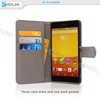 PU leather wallet case with stand function for Sony Z4, detachable folio wallet phone case for Sony Z4