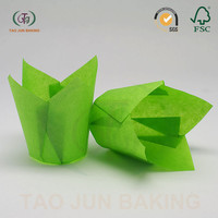 paper cake tool baking cups cupcake liners tulip shaped solid color dessert packaging
