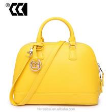 Women Genuine cowhide leather handbag, Fashion yellow color Women Leather handbag