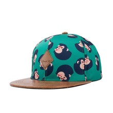 2015 summer style snapback hat for young men monkey printing material with leather flat brim baseball cap (SU-HPS097)