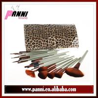 Leopard print leather case 24pcs nylon hair light green wood handle brushes beauty makeup brush kit