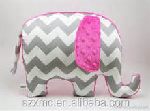 Plain wave pattern printed elephant shaped children plush toy pillow