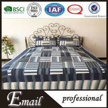 China Wholesale quilt regular staggered stripe dark blue patchwork bedding set