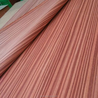china cheap red colored 0.5mm 1mm thickness padouk artificial commercial engineered wood face veneer for decorative furniture