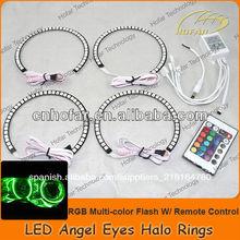 Rgb flash de colores w/mando a distancia led ojos de ángel anillo halo ring kit para bmw e46 no- proyector