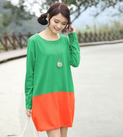 D20198Q 2014 THE NEW FASHION SWEET LEISURE STITCHING COLOR DRESSES FOR WOMAN