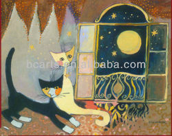 Modern Oil Paintings Cats Looking at Sky at Home