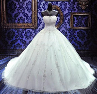 Free Shipping 2015 Top Beaded Crystal A-line Satin Chapel Train Wedding Dresses with Lace up