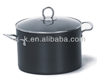 3 PCS Duarable anodized aluminum cookware with glass lid