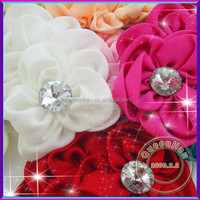 In Stock Fabric Hair Flowers With Rhinestone Center,Kids Crystal Flower Hair Ornament