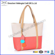 Sweet Elegent PU Leather Mixed Color Totes Chain Pendants Lady Shoulder Bag Handbag