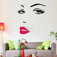 ZooYoo 3d reusable die cut vinyl sticker waterproof custom girl face wall sticker vinyl wallpaper for home decor (ZY8469)