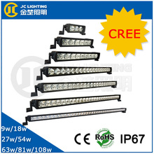 9W/18W/27W/54W/63W/81W/108W cree chip aluminum housing led light bar for automobile, truck, bus