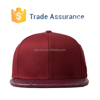 Leather Snapback Cap, Promotional Blank Leather Snapback Wholesale,Leather Plain Snapback Cap