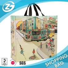 Durable large/ roomy lamination PP woven grocery shopping tote with handle