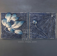 Q022-106 Hot Selling Classic Lotus Flower Square For Living Room 3D Modern Home Goods Wall Art