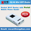 Mini mobile 3G cellular router with power bank