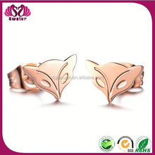 Best Selling Hot Chinese Products Stainless Steel Rose Gold Woman Animal Earring