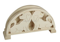 wooden name card holder with carved animal pattern