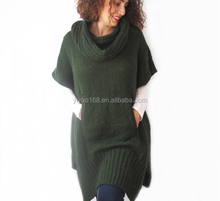 plus zise over size tunic green mohair hand knitted poncho for fahsion women wholesale cheap price sweaters