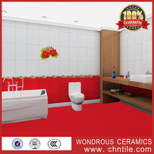 300x450 South Africa hot sale 3d inkjet printing red flower bathroom ceramic decorative wall and floor tile stickers