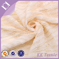 Polyester mesh lace with chiffon belt embroidery add beads design lace fabric