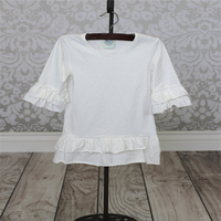 Wholesale new design blouse for kids white ruffle t-shirt