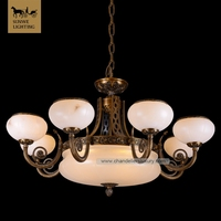New Design Antique Mosque 8 Lights Marble Bronze Spanish alabaster bronze chandelier