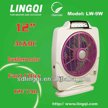 12'' UL solar rechargeable fan with 13pcs LED 12V 7AH battery