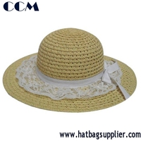 Solid Natural PP Braid Sewn Floppy Fancy Lace Brim Hats