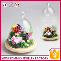 Birthday Valentine Day Gifts of Rose Flower House and Home Guardens covered by Glass shield / colorful homeland accessories A019