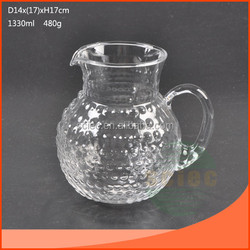 mouth blown glass water jug with dot design