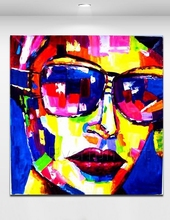 Hand oil painting knife painting portrait of woman with glasses on canvas