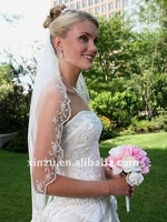 One Layer Fingertip Bead & Lace Bridal Veil 2011--WV1205