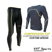 sports wear for weight loss nylon lycra long sleeve suit compression base layer shirt and tights