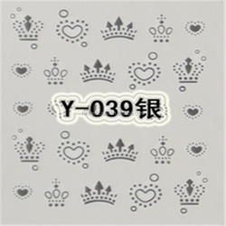 Nail Art Tip Silver Crown & Heart Water Transfers Nail Tattoo Cartoon Water Nail Sticker