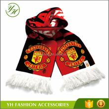a buon mercato acrilico lavorato a maglia calcio sciarpa personalizzata