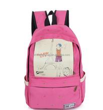 2015 Customized Eiffel Tower Printing Canvas Summer School Backpack Bag Satchel Bag Knapsack For Girls Women