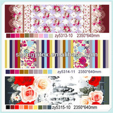Stripe printed rose polyester brushed fabric for bed sheet