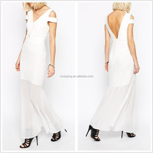 Summer dress woman elegant cut and sew chiffon dress, sleeveless white long dress