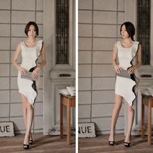 2015 new elegant ladies office wear dresses wholesale white women cocktail party dress with plus sizes
