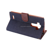 new arrival mobile phone case cool jeans style blue jeans cell phone cases flip stand wallet leather cases for LG G4