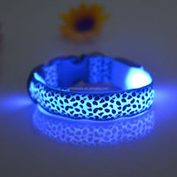 Wholesale led dog collar with footprint switch flashing necklace for pets