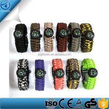 Outdoor Climbing Use Survival Bracelet Clasp With Compass , Survival Paracord Bracelet With Fire Starter Buckl